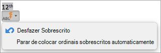 Mostra a opção para parar os ordinais sobrescritos automaticamente