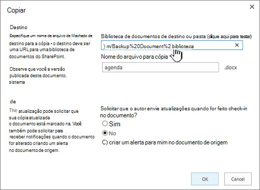 Caixa de diálogo Copiar com URL selecionada.