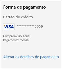 """Captura de tela mostrando o link """"Alterar detalhes de pagamento""""."""