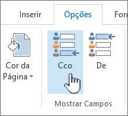 Localizando o botão de Cco na guia Opções