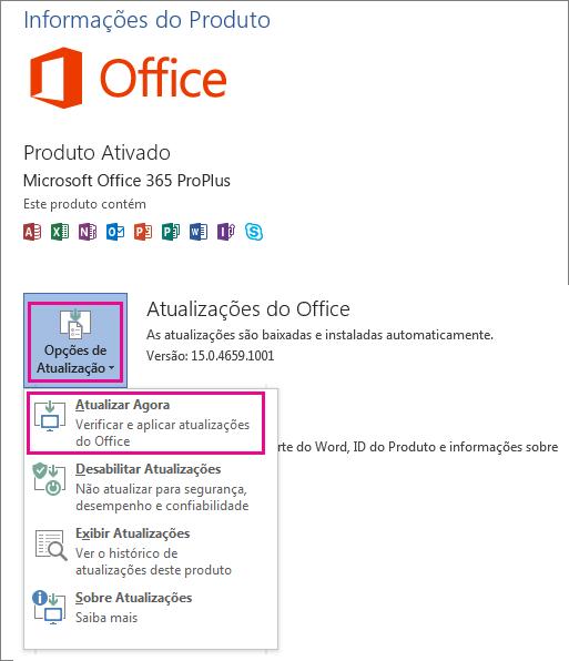 Verificando manualmente atualizações do Office no Word 2013
