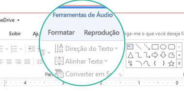 """Quando um clipe de áudio é selecionado em um slide, uma seção """"Ferramentas de Áudio"""" é exibida na faixa de opções da barra de ferramentas apresentando duas guias: Formatar e Reprodução."""