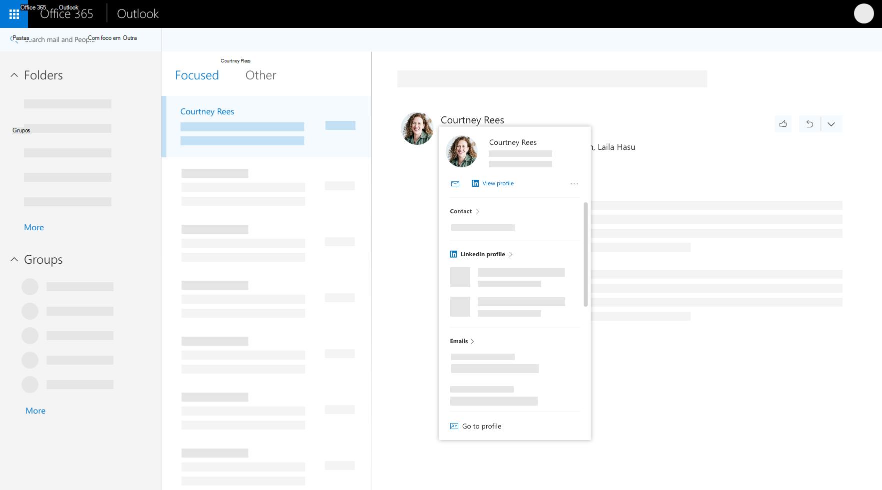 Cartão de perfil no Outlook na web