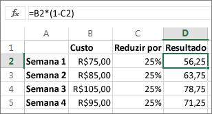 Exemplo mostrando a redução de um montante por meio de uma porcentagem