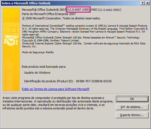 "Captura de tela que mostra onde o número de versão do Outlook 2007 aparece na caixa de diálogo ""Sobre o Microsoft Office Outlook""."