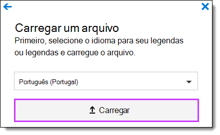 Legendas de carregamento do vídeo do Office 365