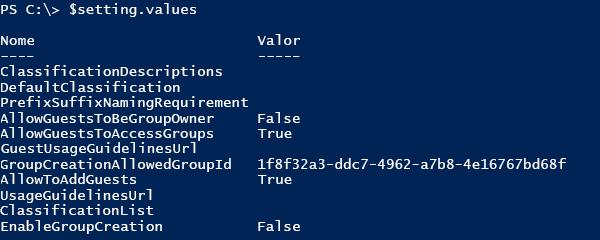 Captura de tela de uma lista de valores de configuração atuais