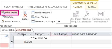Adicionando um campo Data/Hora no modo Folha de Dados