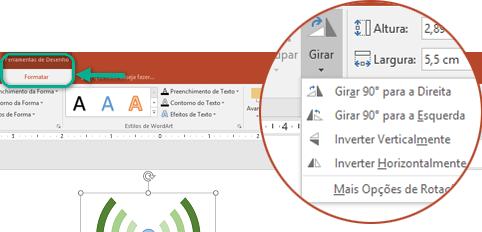 Os comandos de Rotação estão disponíveis na guia Formatar Ferramentas de Desenho, na faixa de opções da barra de ferramentas. Clique no objeto que você deseja girar e, em seguida, clique na faixa.