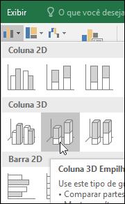 Colunas 3D empilhadas