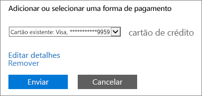 """Captura de tela mostrando o link """"Editar detalhes"""" na página Alterar detalhes de pagamento"""