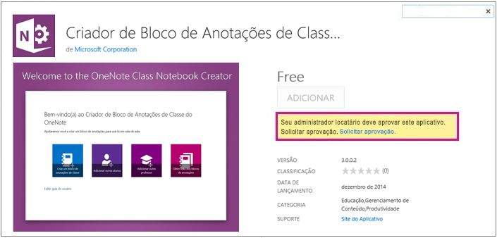 Captura de tela da página de detalhes do aplicativo com o link Solicitar Aprovação em destaque