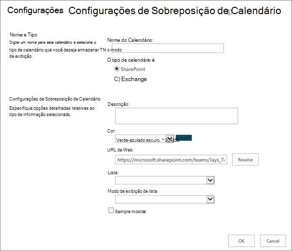 Caixa de diálogo de calendário de criar de sobreposição de calendário.