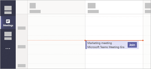 Uma reunião com um botão ingressar no aplicativo reuniões no Microsoft Teams