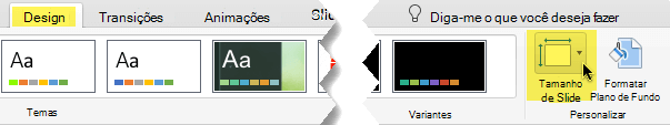 O botão de tamanho do Slide está na extremidade direita da guia Design na barra de ferramentas
