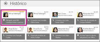 Captura de tela do bloco de histórico com várias mensagens instantâneas exibidas. A mensagem instantânea perdida está realçada.