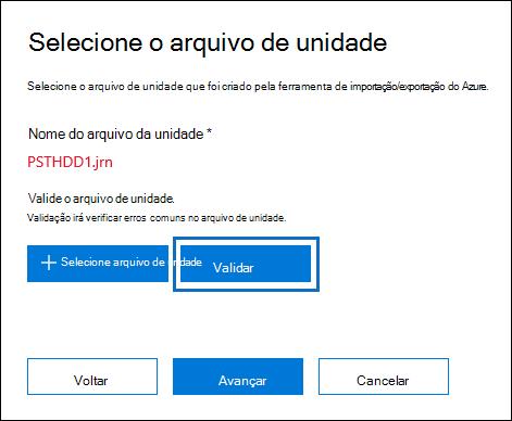 Clicar em Validar para validar o arquivo de unidade selecionada