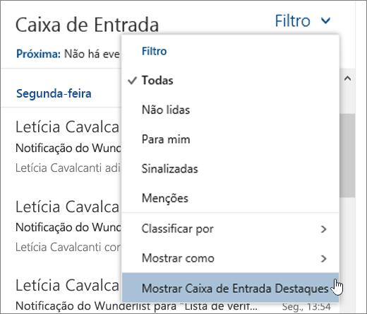 Captura de tela do menu Filtro com Mostrar Caixa de Entrada Destaques marcado