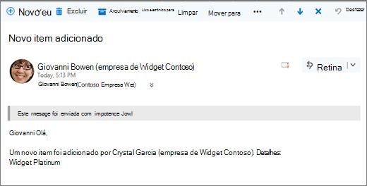 Emails enviados pelo Microsoft Flow quando um item alterado