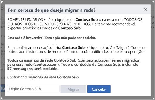 Captura de tela da caixa de diálogo para confirmar que você deseja migrar uma rede do Yammer