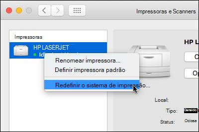 Controle clique na lista de impressoras para acessar redefinir o sistema de impressão em OSX
