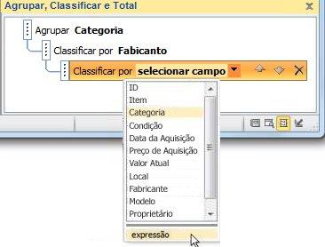 Escolhendo a opção de expressão no painel Agrupar, Classificar e Total.