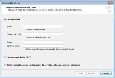 Caixa de diálogo Adicionar Nova Conta com conta de email selecionada