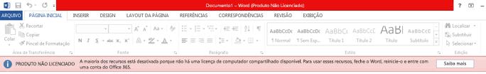 Mensagem de erro de produto não licenciado