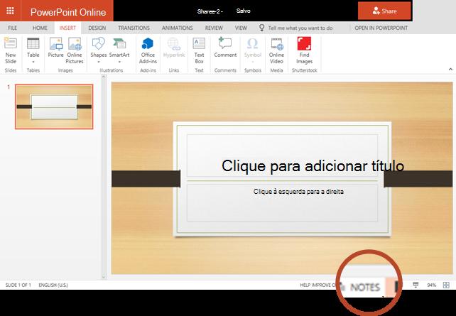 O botão de anotações está na borda inferior da janela do navegador, no lado direito.