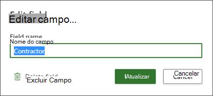 Captura de tela da caixa de diálogo Editar para um campo personalizado