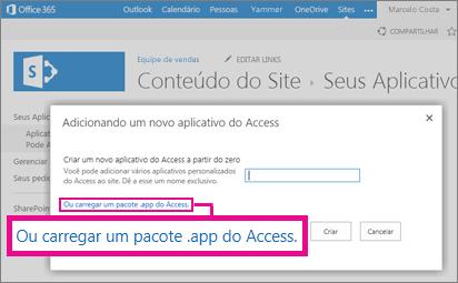 Carregar um pacote de aplicativos do Access na página Adicionar um aplicativo no site do SharePoint