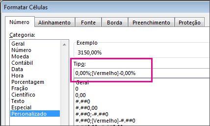 Formato personalizado para exibir porcentagens negativas em vermelho