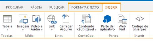 A captura de tela da guia Inserir contém botões para inserir tabelas, vídeos, gráficos e links em suas páginas do site