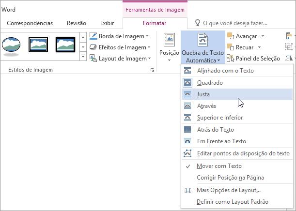 Itens do menu Quebra de Texto Automática