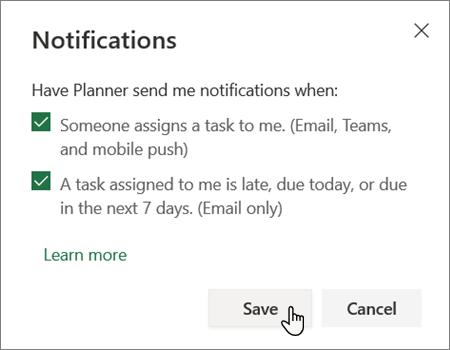 Caixa de configurações de notificações do Planner