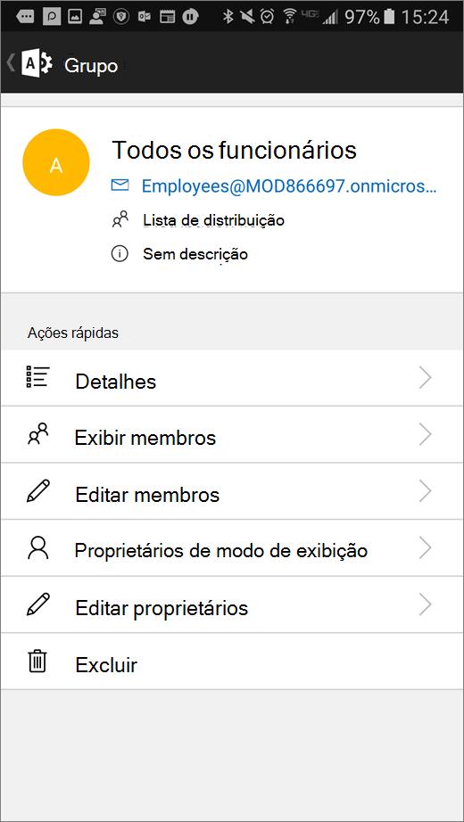 Escolha o grupo no aplicativo do administrador do Office 365 para editar os detalhes como membros ou proprietários.