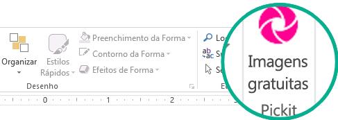 Após instalado, o suplemento Pickit Free Image aparece no lado direito da guia Página Inicial da faixa de opções.