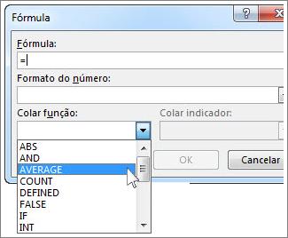 Caixa Fórmula com menu de funções