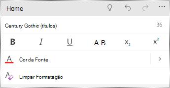 Opções de formato de texto no PowerPoint para Windows celulares.