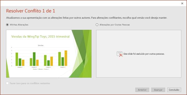 Mostra a caixa de diálogo de alterações conflitantes no PowerPoint