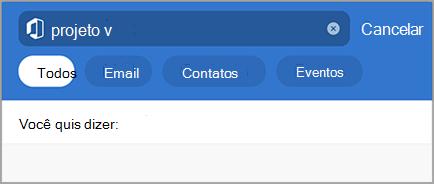 Mostra a pesquisa do Outlook com erros de digitação
