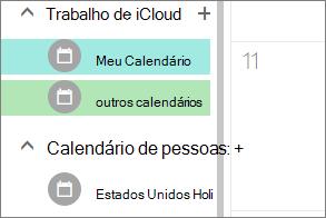 calendário de iCloud que aparecem em outros calendários no Outlook para a web