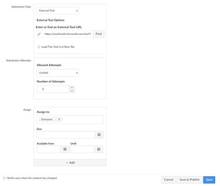 Campos para tipos de envio, tentativas de envio e Atribuir