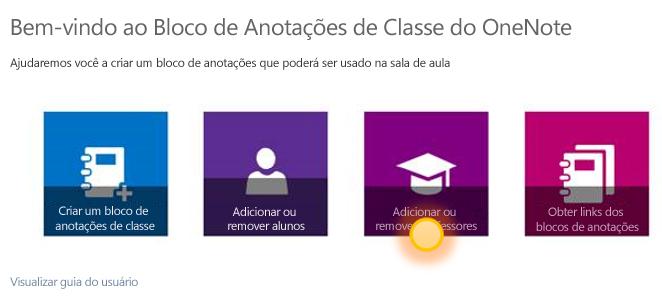 Captura de tela que mostra como adicionar ou remover um professor.