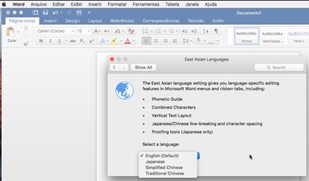 Captura de tela de seleção de idioma do Office para Mac 2016