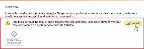 Mensagem sobre a verificação de item com o botão Check-In realçado