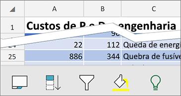 Planilha com comandos contextuais disponíveis na parte inferior da tela