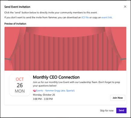 Captura de tela mostrando o envio de um convite ao configurar o evento ao vivo