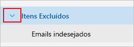 Captura de tela mostrando expandir pasta Itens excluídos.