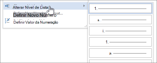 Alterar o nível de lista em suas listas numeradas ou com marcadores